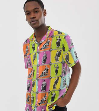 Asos Design DESIGN Tall relaxed fit shirt in sculpture tile print with revere collar