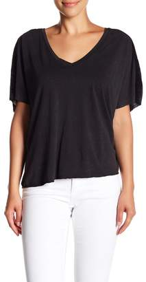 Blend of America Project Social T On My Mind Mixed V-Neck Lnen Tee