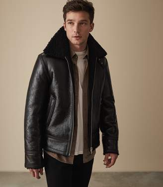 Reiss BROXBURN SHEARLING AVIATOR JACKET Black