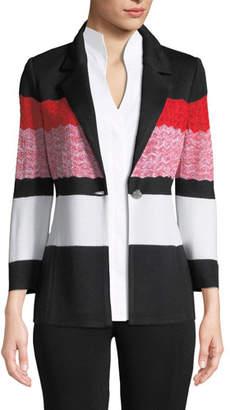 Misook Block-Striped One-Button Jacket