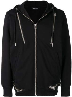 Diesel zipped hooded cardigan