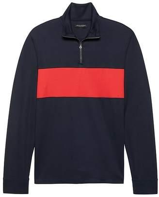 Banana Republic Luxury-Touch Half-Zip Chest-Stripe T-Shirt