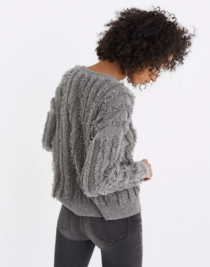 Fringe-Stripe Pullover Sweater