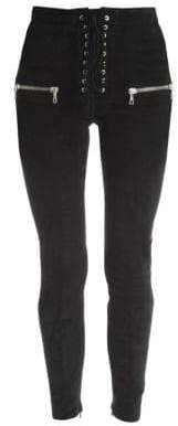 Suede Skinny Lace-Up Pants