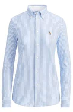 Ralph Lauren Striped Knit Oxford Shirt Blue Stripe Xs