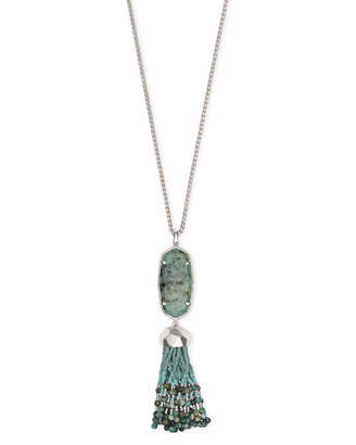 Kendra Scott Eva Silver Long Pendant Necklace in African Turquoise