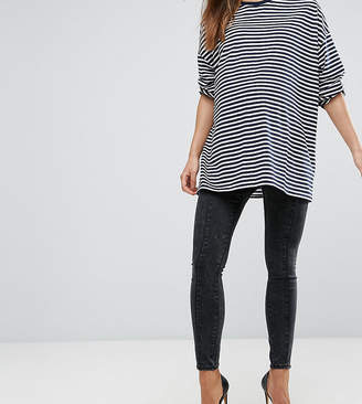Asos Rivington Jeggings In Marbled Black With Panel Details With Under The Bump Waistband
