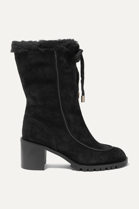 Jimmy Choo Buffy 65 Shearling-lined Suede Boots - Black