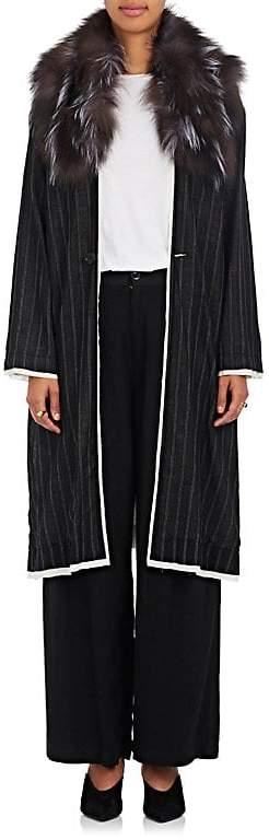 Women's Fur-Trimmed Striped Wool-Blend Long Coat