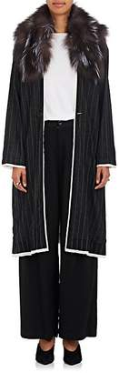 Pas De Calais Women's Fur-Trimmed Striped Wool-Blend Long Coat