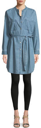 Eileen Fisher Mandarin-Collar Denim Shirtdress, Plus Size