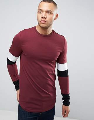 Asos Longline Muscle Long Sleeve T-Shirt With Paneled Sleeves And Curved Hem