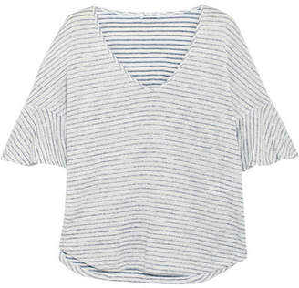 Splendid - Striped Linen And Cotton-blend Top - Navy $105 thestylecure.com