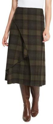 Ralph Lauren Collection Maya Plaid A-Line Skirt, Loden/Purple/Multi $1,990 thestylecure.com
