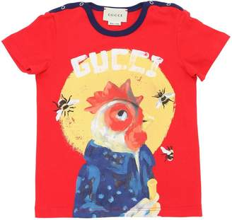 Gucci Rooster Printed Cotton Jersey T-Shirt