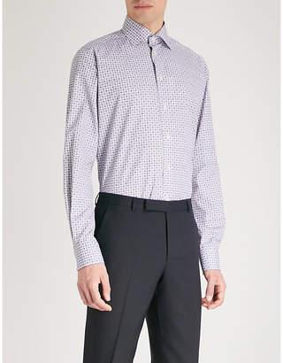 Eton Geometric-print contemporary-fit cotton-poplin shirt