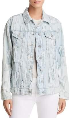 True Religion Trucker Shredded Denim Jacket in Cyan Cyclone