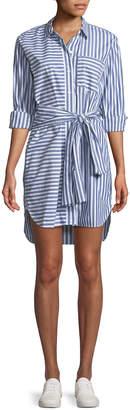 Current/Elliott The Alda Striped Self-Tie Shirtdress