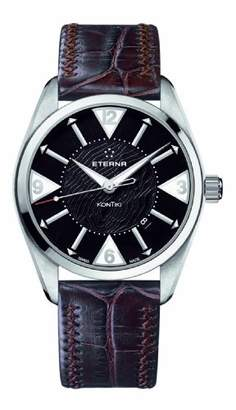 Eterna Watches Men's 'Kontiki Date' Automatic Stainless Steel and Leather Dress Watch
