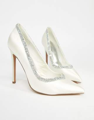 Asos DESIGN Phoenix bridal high heeled pumps in ivory