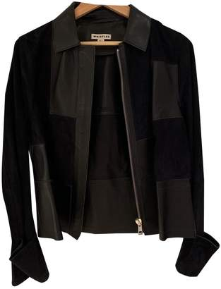 Whistles Navy Leather Jacket for Women
