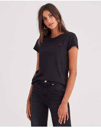 7 For All Mankind Baby Tee With Mico Bug Applique In Jet Black