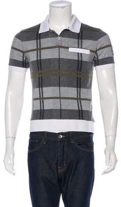 Moncler Gamme Bleu Plaid Polo Shirt