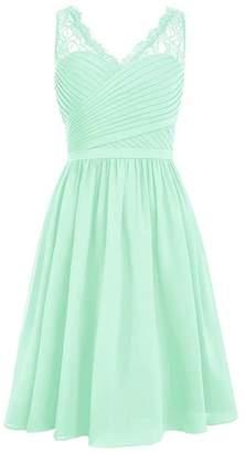 MaliaDress Womens V Neck Straps Chiffon Lace Short Bridesmaid Dress M299LF US