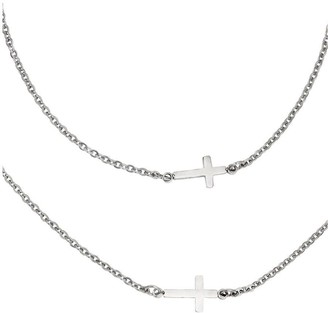 Steel By Design Stainless Steel Horizontal Cross Layered Necklace