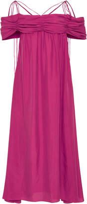 Isa Arfen Siena Off-The-Shoulder Washed-Silk Dress