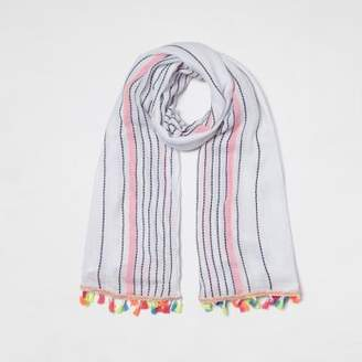 River Island Womens White stripe print tassel trim scarf