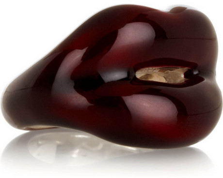 Solange Azagury-Partridge Hot Lips lacquered sterling silver ring