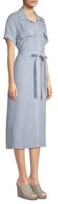 Frame Linen Striped Shirt Dress