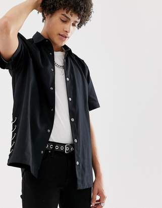 Asos Design DESIGN oversized shirt with popper buttons & ring detail in black