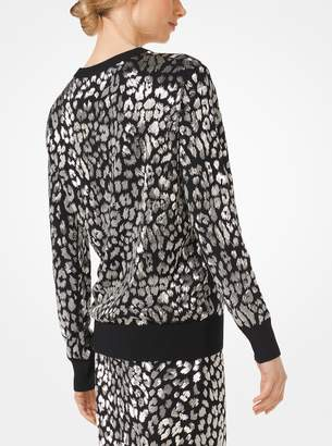 Michael Kors Leopard-Embroidered Cashmere Pullover