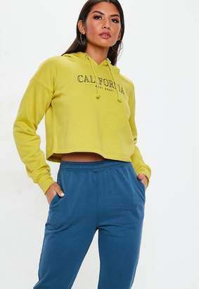 Missguided Lime Green California Graphic Cropped Hoodie