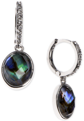 Judith Jack Silver-Tone Abalone and Clear Crystal Drop Earrings $98 thestylecure.com