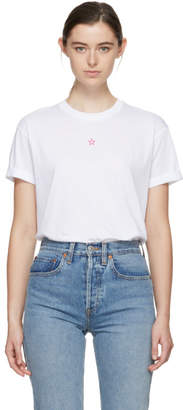 Stella McCartney White and Pink Embroidered Star T-Shirt