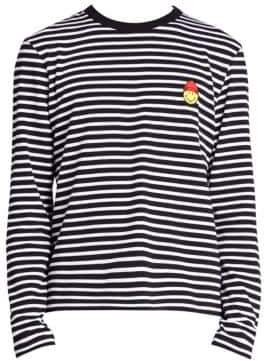 Ami Long Sleeve Striped Smile Patch T-Shirt