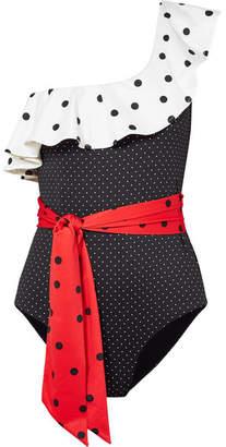 Ganni One-shoulder Ruffled Polka-dot Swimsuit - Black