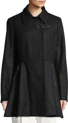 Iconic American Designer Buckle-Front Wool Fit & Flare Coat