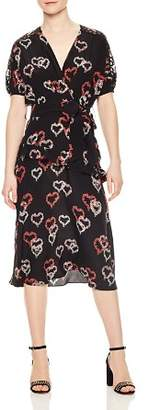 Sandro Eclat Ruffled Floral-Print Silk Midi Dress