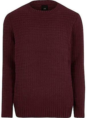 River Island Mens Burgundy textured chenille knit jumper