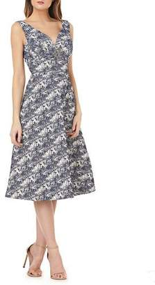 Kay Unger New York Stretch Metallic Jacquard Gown w/ Brooch