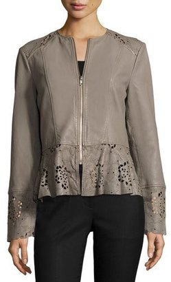 Neiman Marcus Laser-Cut Fit-&-Flare Lambskin Leather Jacket, Taupe $395 thestylecure.com