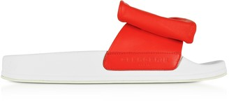 Robert Clergerie Wendy Blood Orange Leather Slide Sandals w/White Sole