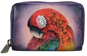 Anuschka Bird Leather Zip Credit and Business Card Holder