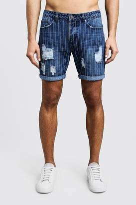 boohoo Slim Fit Pinstripe Detail Denim Shorts
