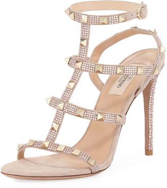 Valentino Rockstud Glam Suede Sandal