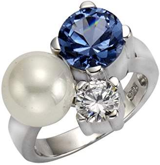 Celesta ZEEme Pearls Women's Ring 925 Sterling Silver Rhodium-Plated Aquamarine zirconia and synthetic white Pearls 273270438–3 white